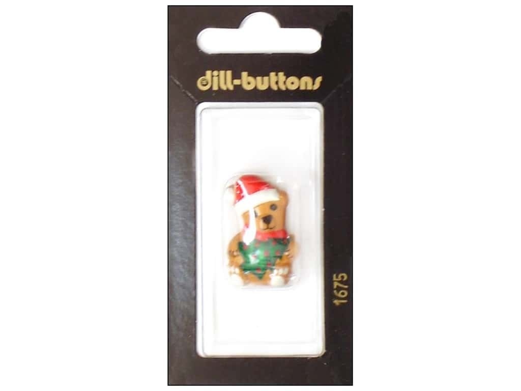 Dill Shank Buttons 1 1/8 in. Brown Christmas Bear #1675 1 pc.