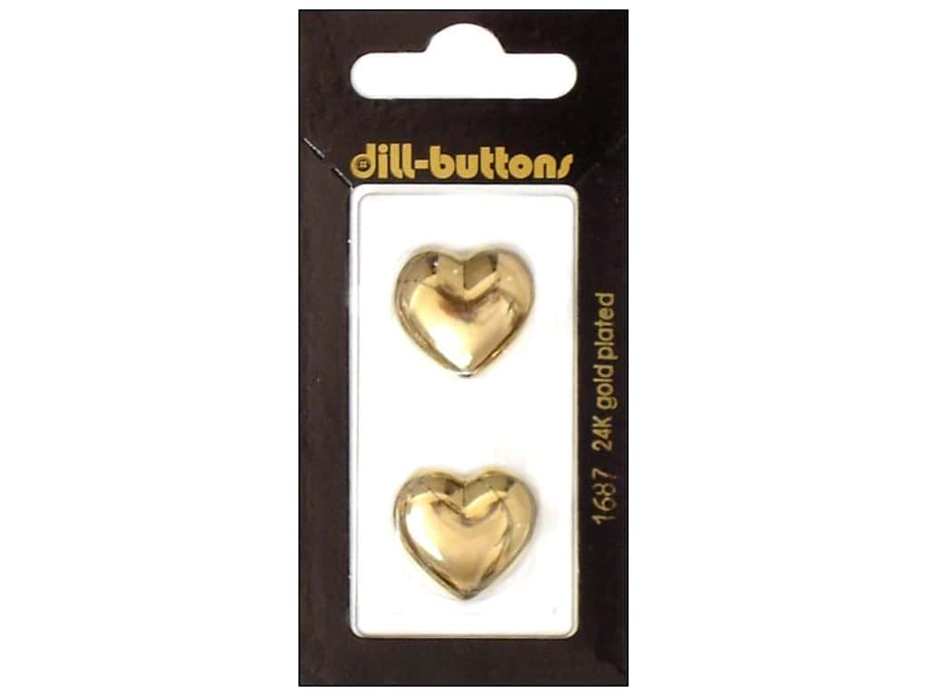 Dill Shank Buttons 13/16 in. Gold Heart #1687 2 pc.