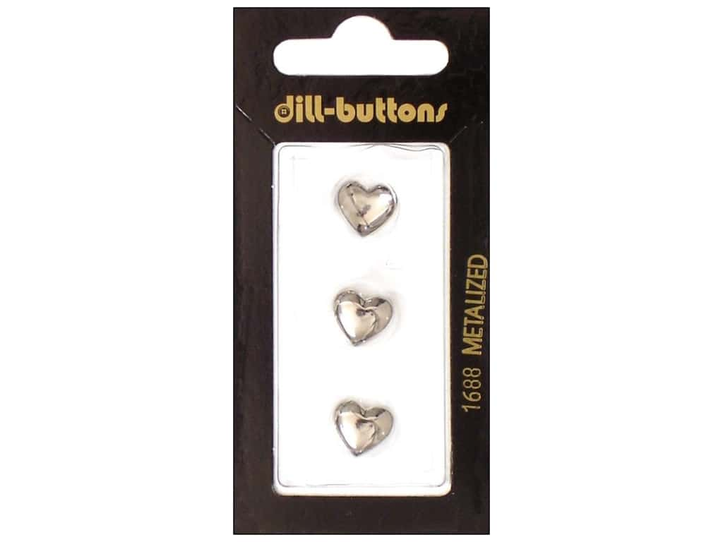 Dill Shank Buttons 7/16 in. Silver Heart #1688 3 pc.