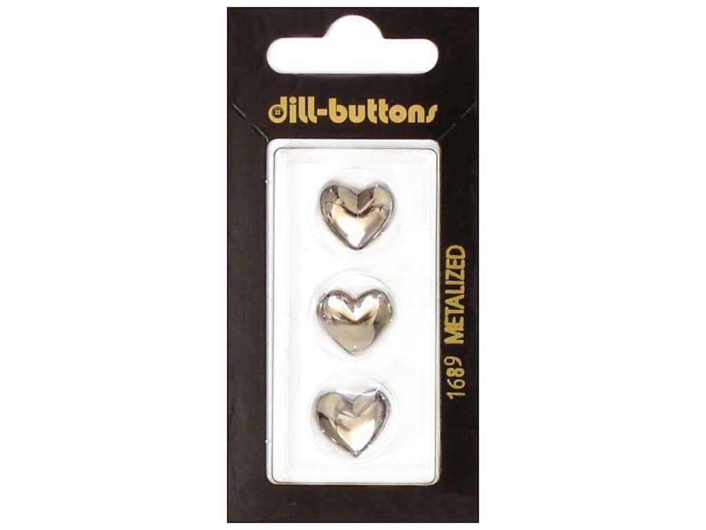 Dill Shank Buttons 9/16 in. Silver Heart #1689 3 pc.