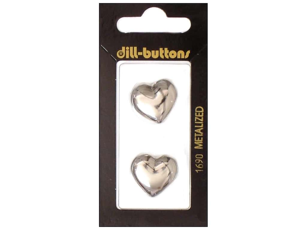 Dill Shank Buttons 13/16 in. Silver Heart #1690 2 pc.