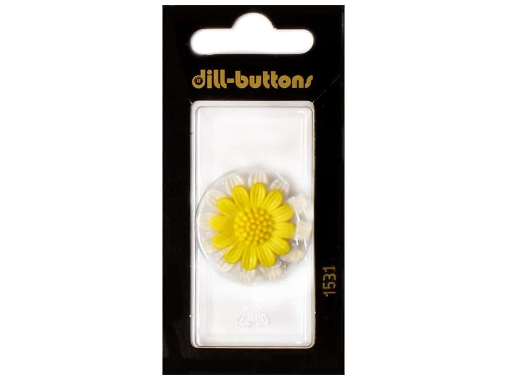 Dill Shank Buttons 1 1/8 in. Yellow Flower #1531 1 pc.