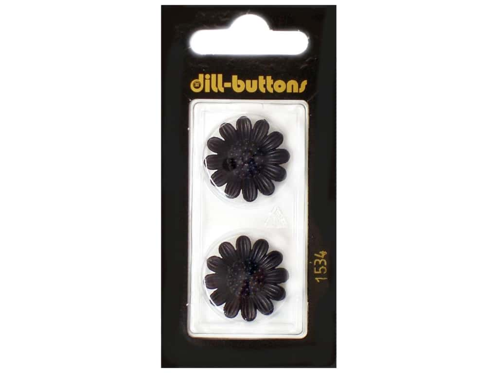 Dill Shank Buttons 13/16 in. Black Flower #1534 2 pc.