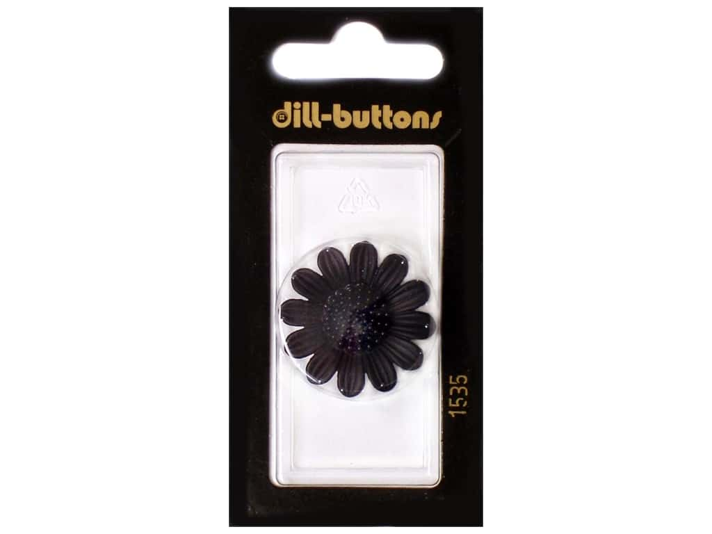 Dill Shank Buttons 1 1/8 in. Black Flower #1535 1 pc.