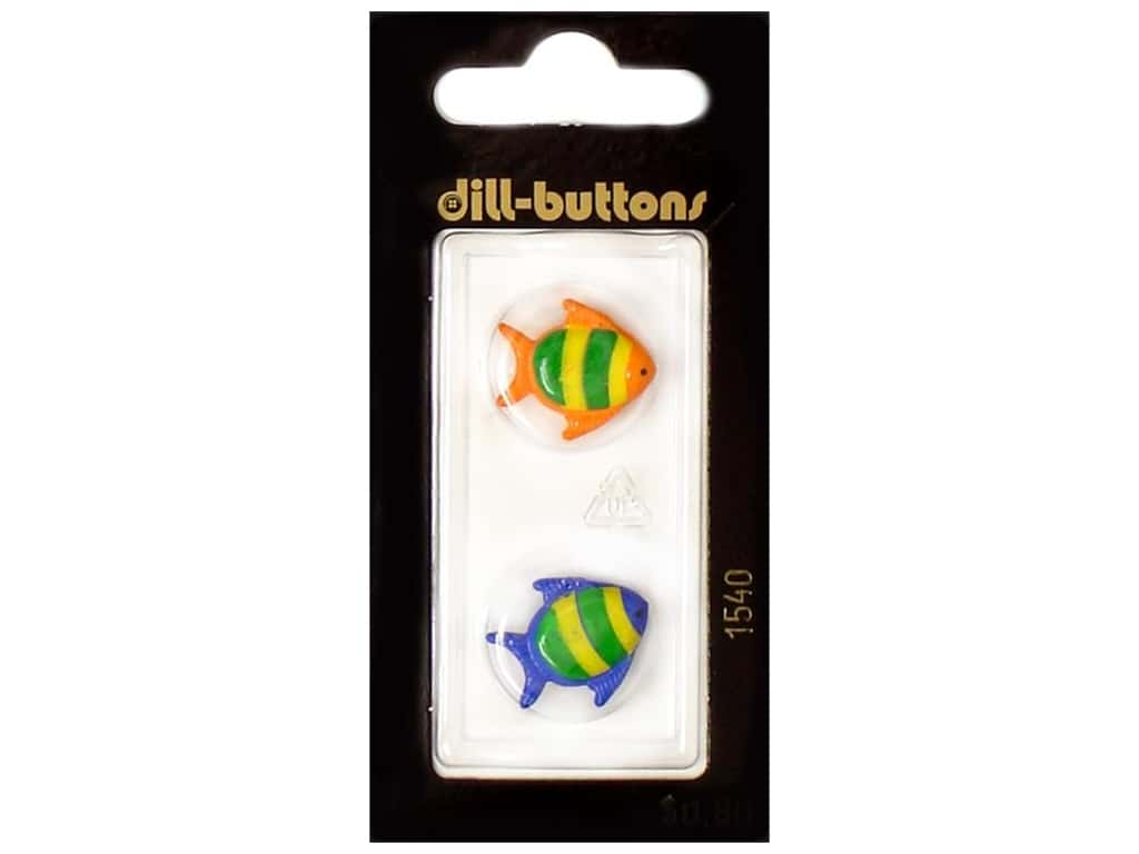 Dill Shank Buttons 11/16 in. Blue and Red Fish #1540 2 pc.