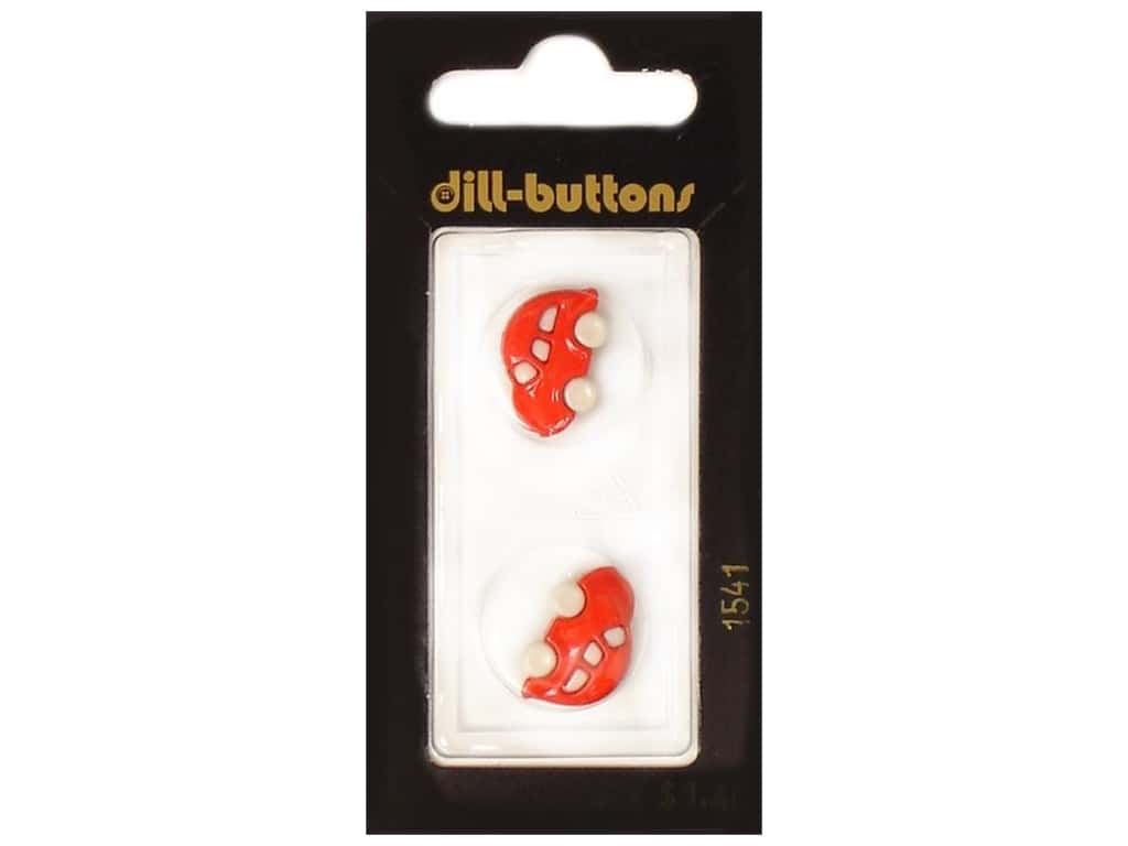 Dill Shank Buttons 13/16 in. Red Car #1541 2 pc.