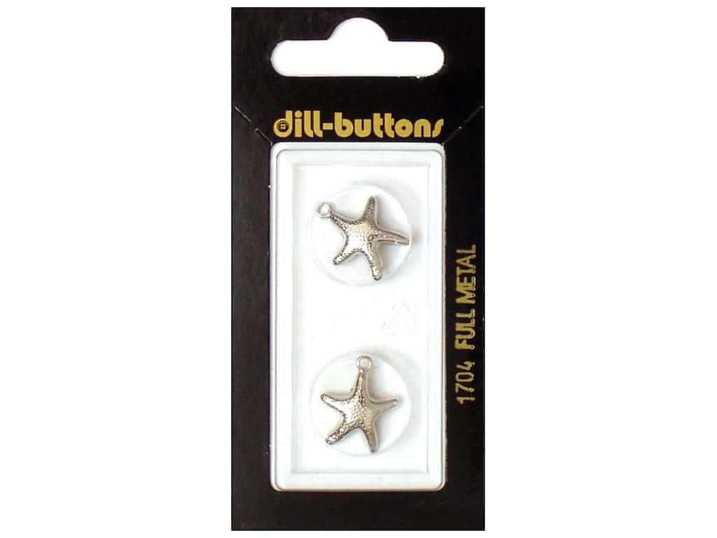 Dill Buttons 11/16 in. Silver Starfish Charm #1704 2 pc.