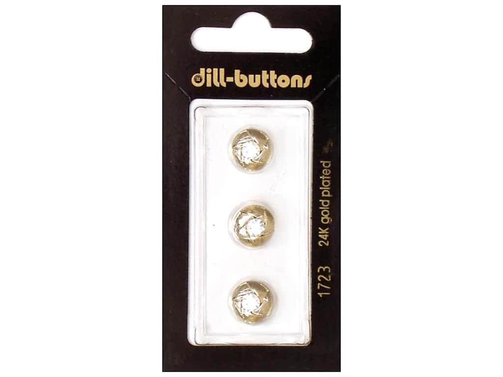 Dill Shank Buttons 3/8 in. Gold Round Rhinestone #1723 3 pc.