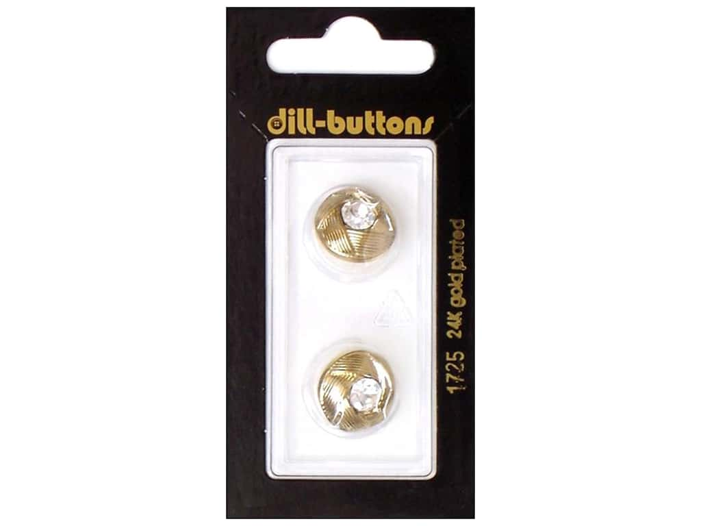 Dill Shank Buttons 5/8 in. Gold Round Rhinestone #1725 2 pc.