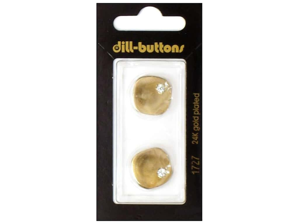 Dill Shank Buttons 11/16 in. Gold Rhinestone Corner #1726 2 pc.