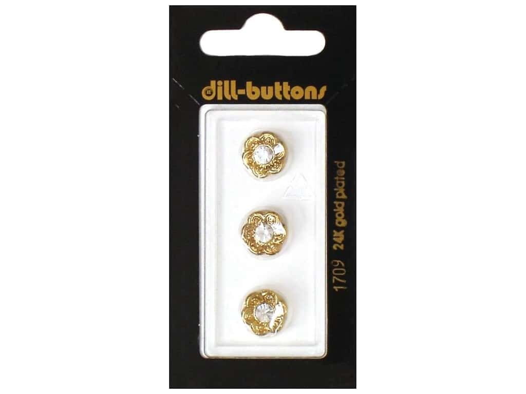 Dill Shank Buttons 7/16 in. Gold Flower with Rhinestone#1709 3 pc.
