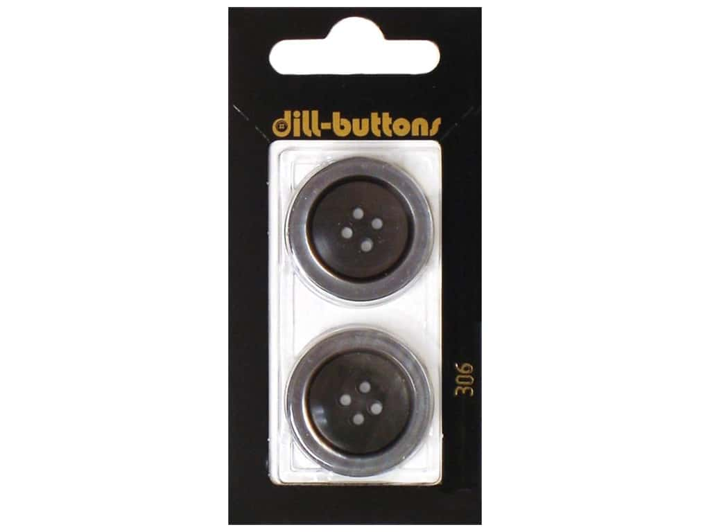 Dill 4 Hole Buttons 1 in. Grey #306 2 pc