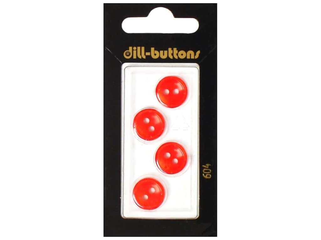 Dill 2 Hole Buttons 1/2 in. Red #604 4 pc.