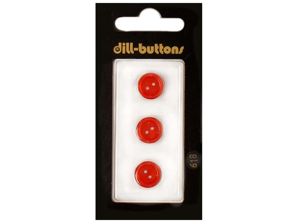 Dill 2 Hole Buttons 7/16 in. Red #618 3 pc.