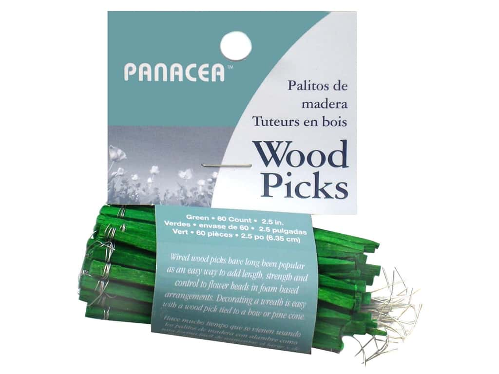 Panacea Wired Wood Floral Picks 2 1/2 in. 60 pc. Green