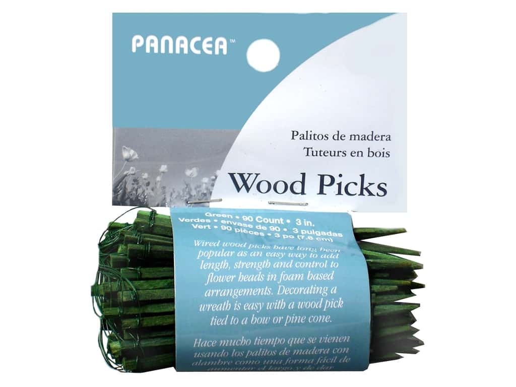 Panacea Wired Wood Floral Picks 3 in. 90 pc. Green