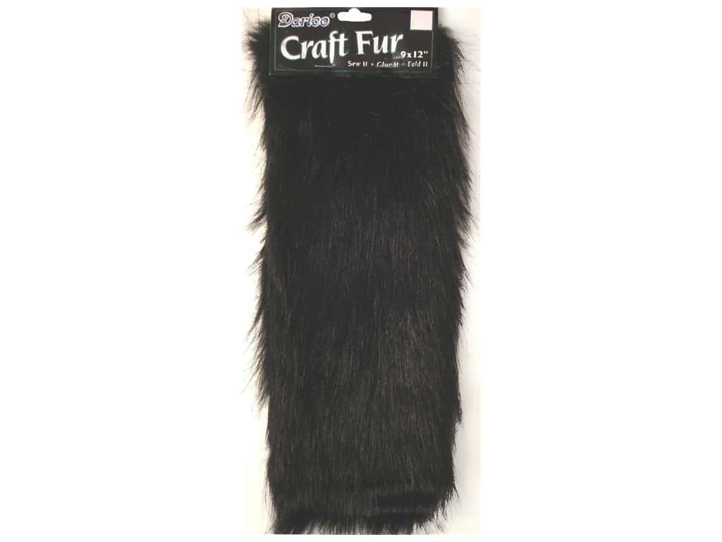 Darice Long Pile Fur 9 x 12 in. Black