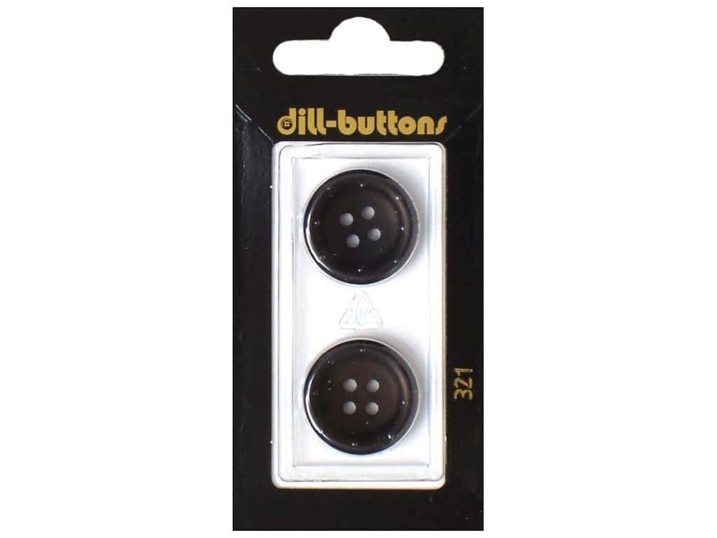 Dill 4 Hole Buttons 13/16 in. Black #321 2 pc.