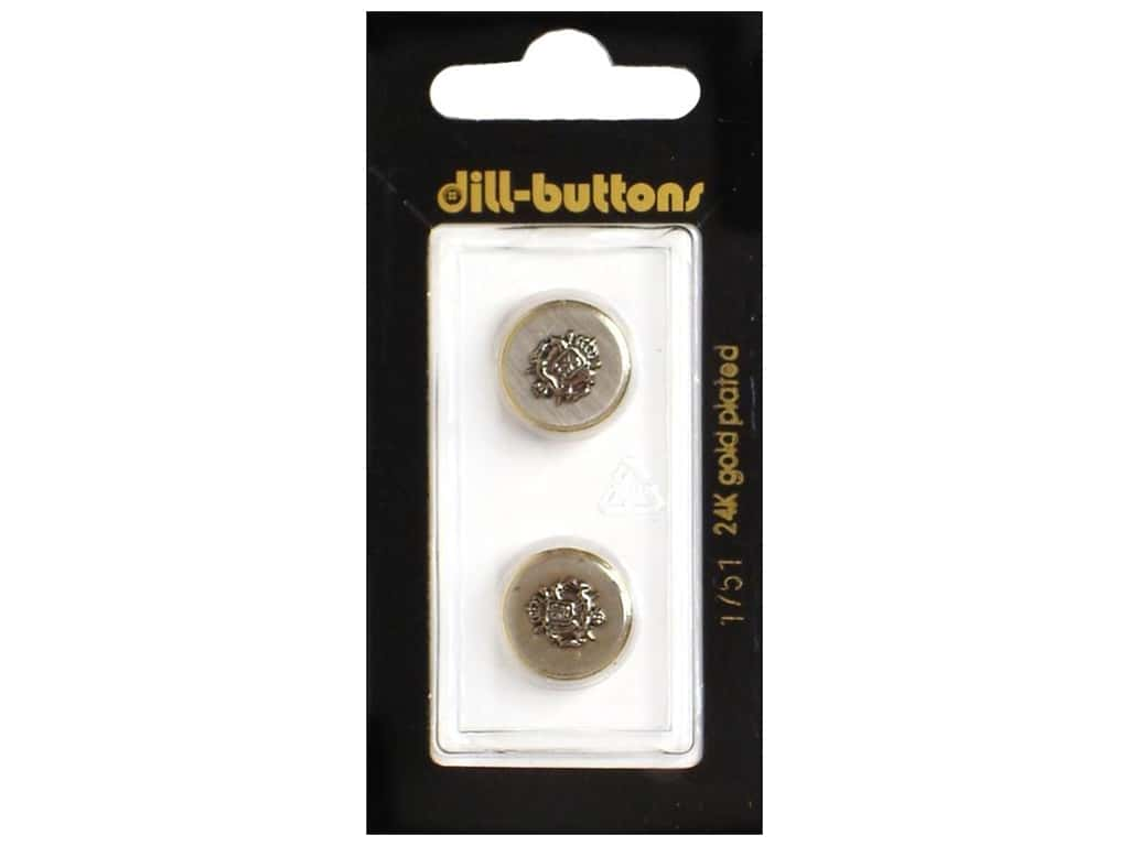 Dill Shank Buttons 5/8 in. Gold Metal Crest #1751 2 pc.