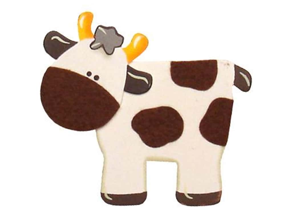 Lara's Wood Painted Cow 4 1/2 x 3 7/8 in.