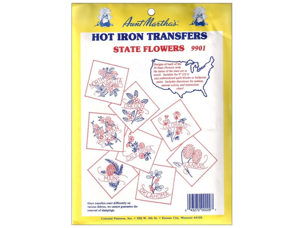 Aunt Martha's Hot Iron Transfer #9901 State Flowers Collection