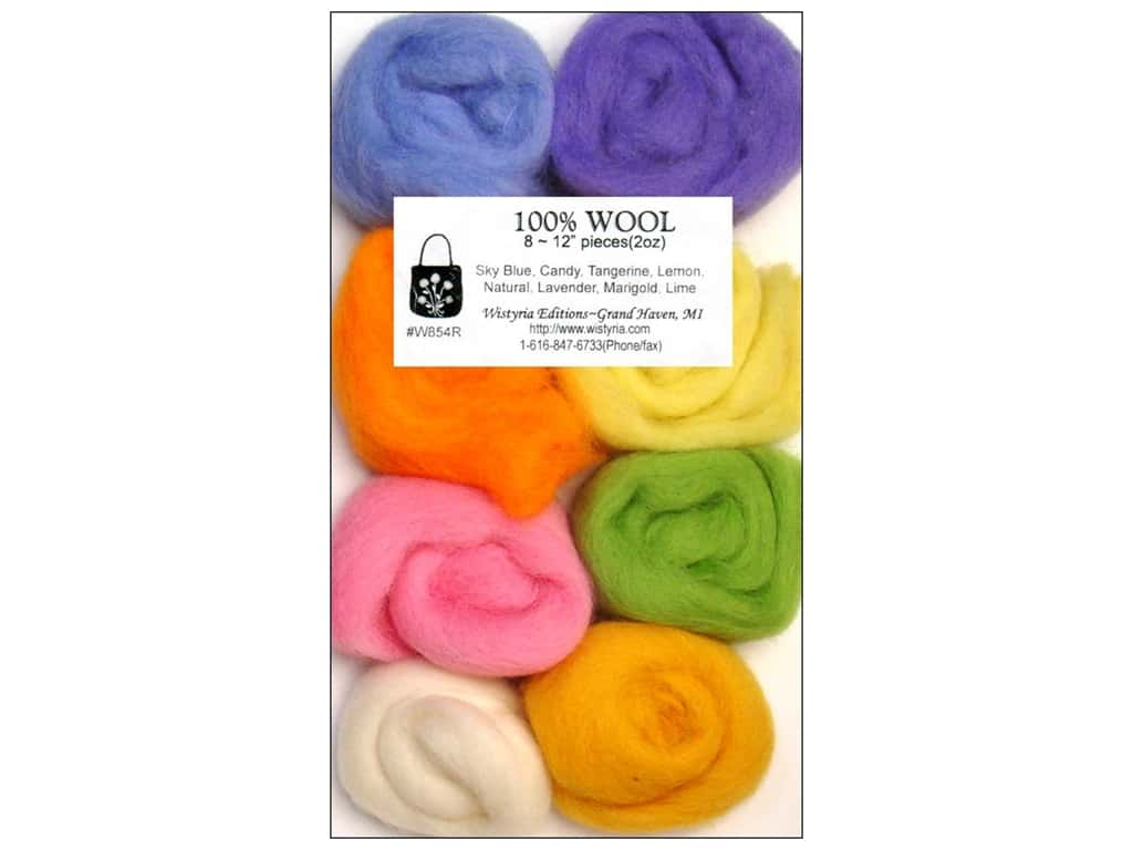 Wistyria Editions 100% Wool Roving 8 pc. Cotton Candy