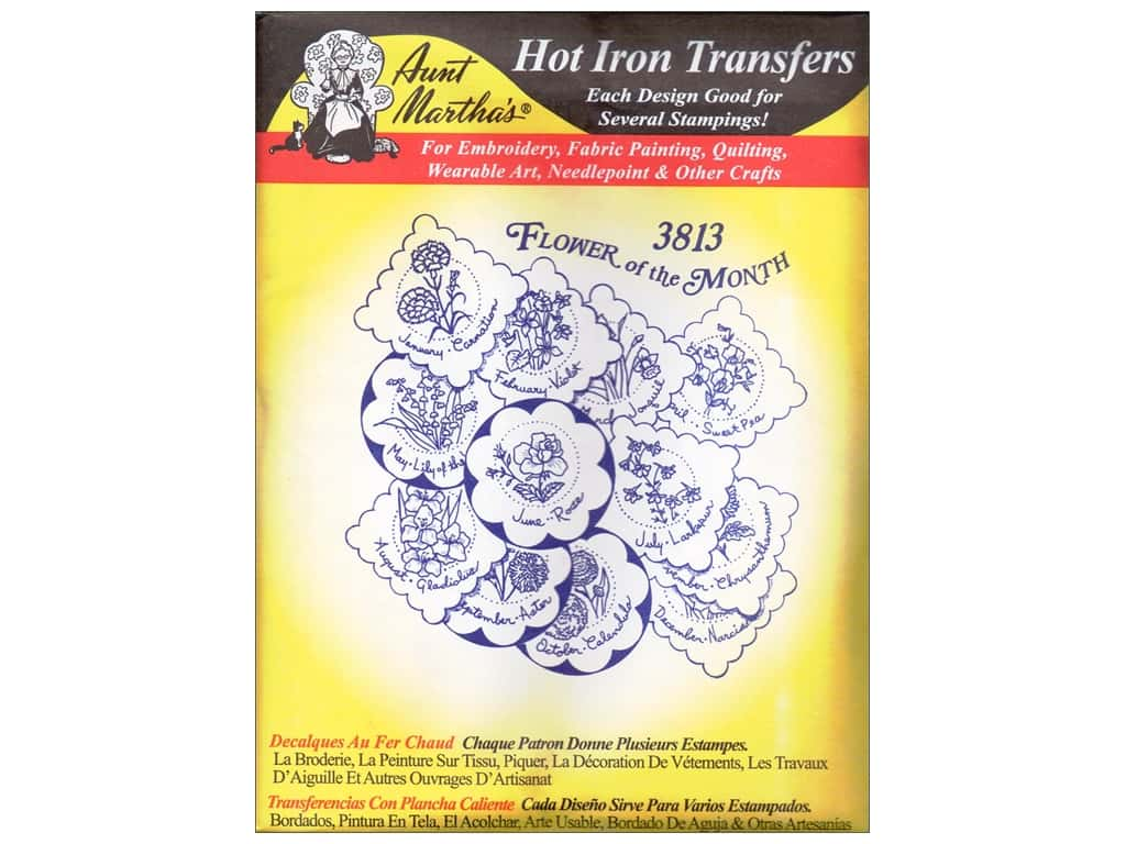Aunt Martha's Hot Iron Transfer #3813 Flower of Month