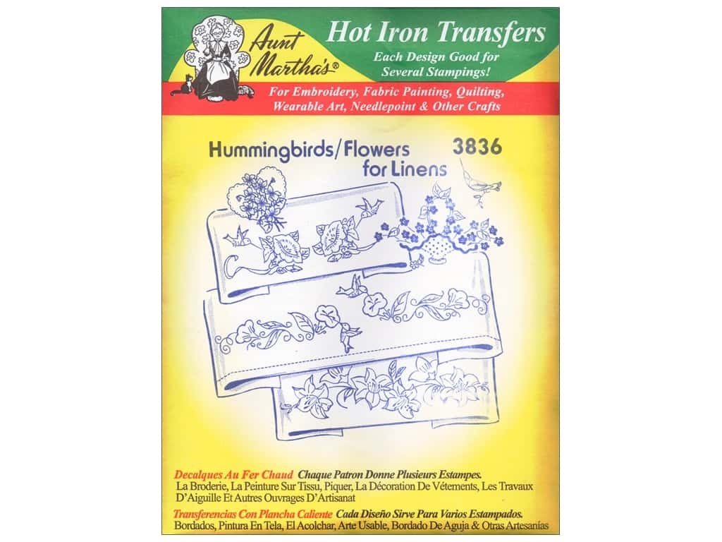 Aunt Martha's Hot Iron Transfer #3836 Hummingbirds and Flowers for Linens