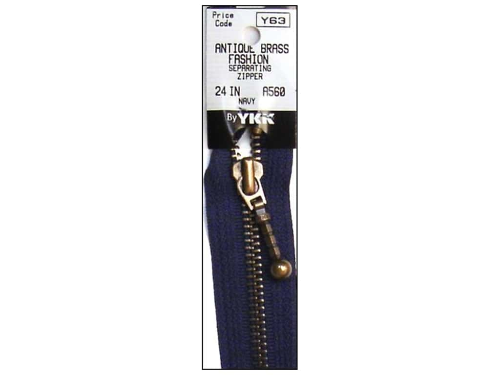 YKK #5 Antique Brass Zipper 24 in. #560 Navy