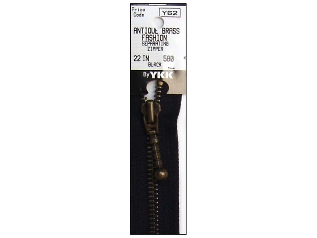 YKK #5 Antique Brass Zipper 22 in. #580 Black