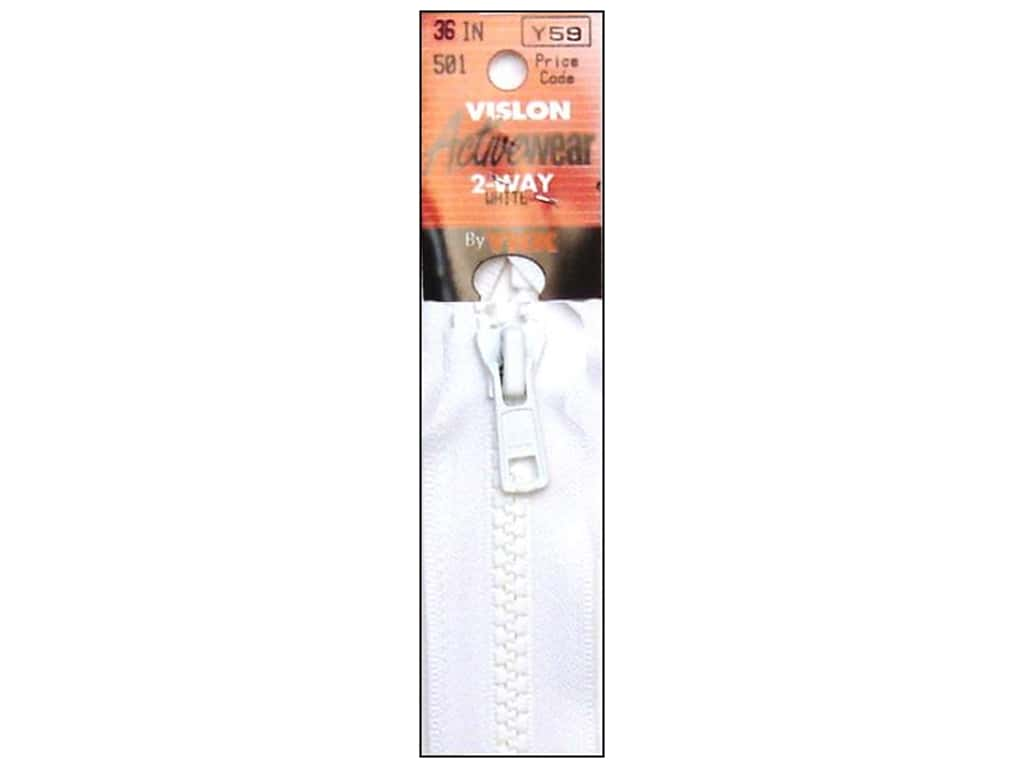 YKK Vislon 2-Way Separating Zipper 36 in. White
