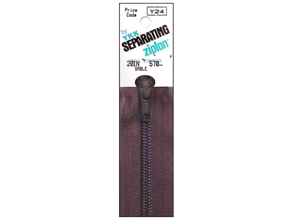 YKK Ziplon 1-Way Separating Zipper 20 in. Sable
