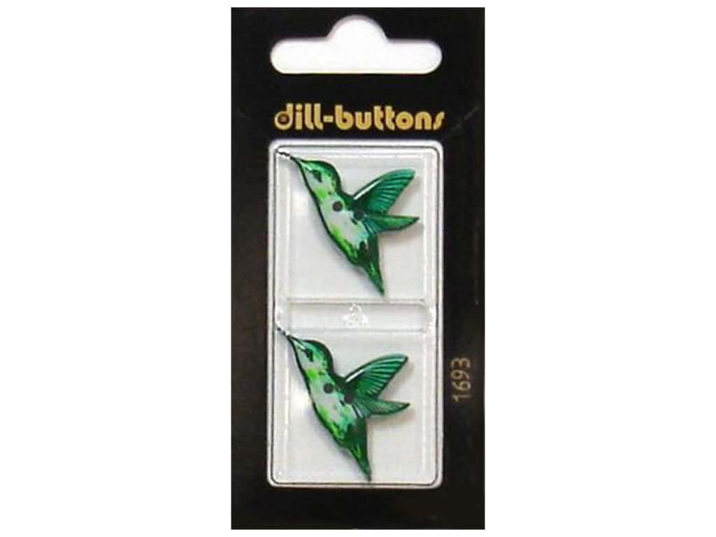 Dill 2 Hole Buttons 1 1/8 in. Green Hummingbird #1693 2 pc.