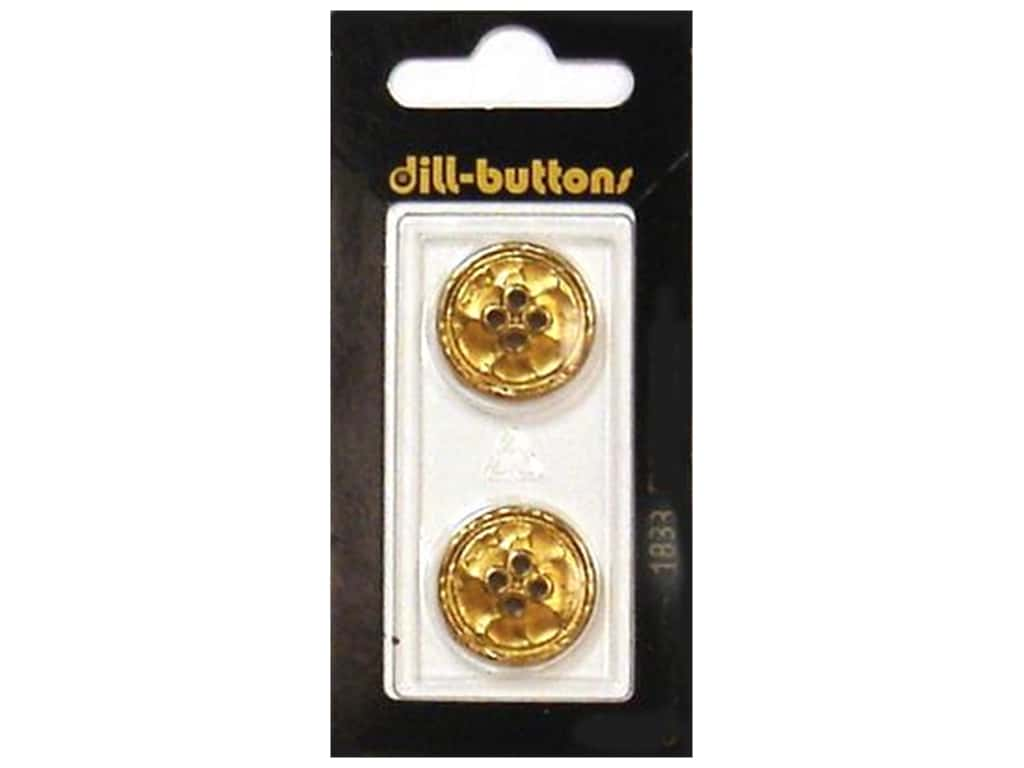 Dill 4 Hole Buttons 13/16 in. Gold Metal #1833 2 pc.