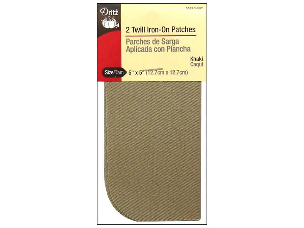 Twill Iron On Patches by Dritz 2 pc. Khaki 5 x 5 in.