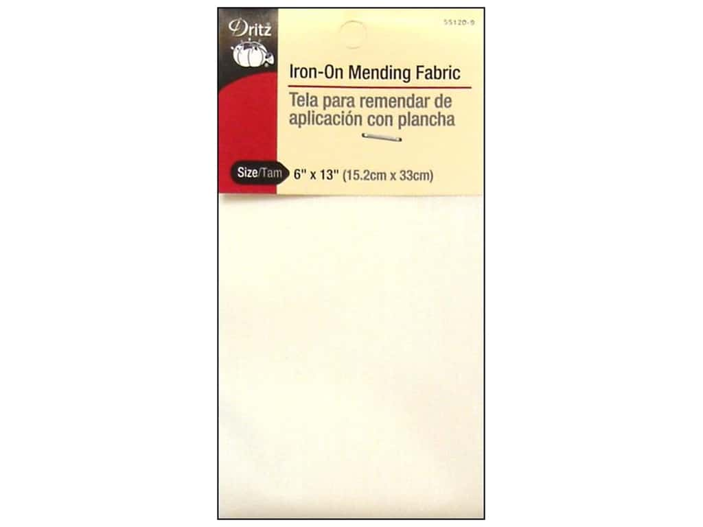 Iron-On Mending Fabric by Dritz White 6 x 13 in