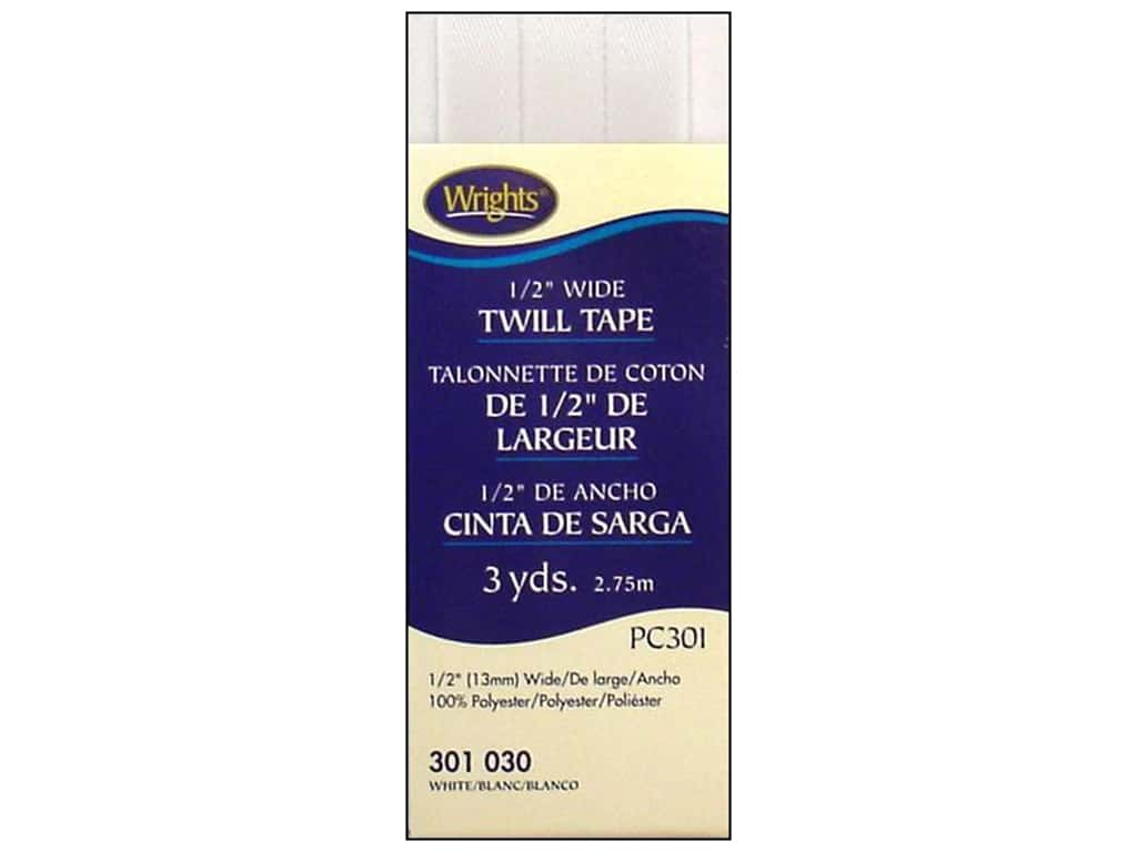 Wrights Twill Tape 1/2  in. x 3 yd. White