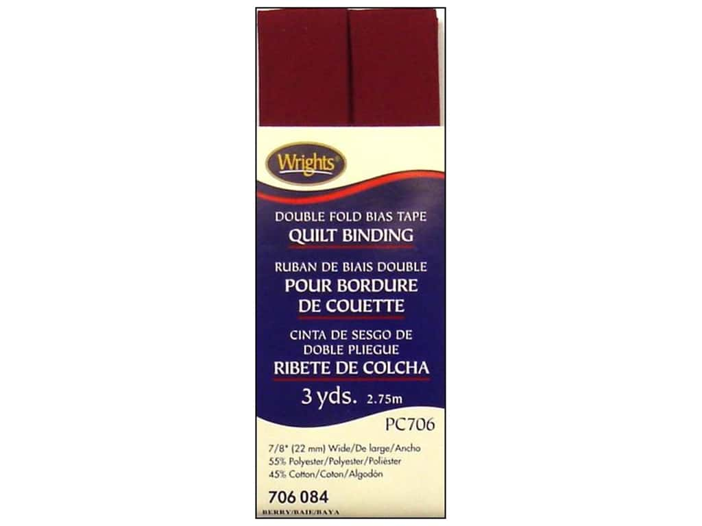 Wrights Double Fold Quilt Binding - Berry 3 yd.