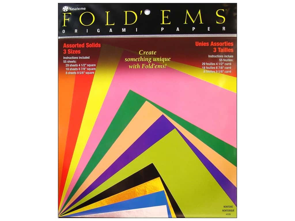 Yasutomo Fold Ems Origami Paper Assorted Size 55 pc. Solid Large