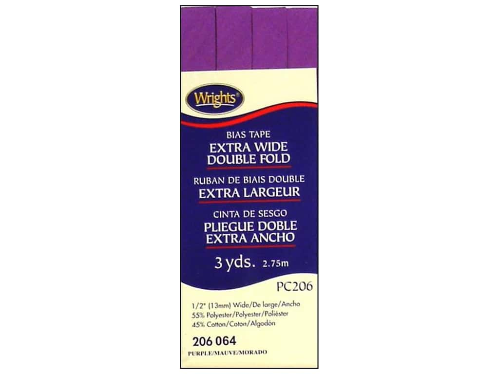 Wrights Extra Wide Double Fold Bias Tape 3 yd. Purple