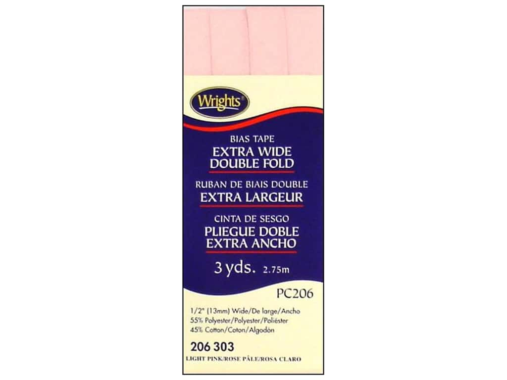 Wrights Extra Wide Double Fold Bias Tape 3 yd. Light Pink