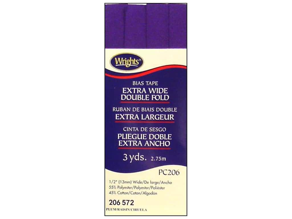 Wrights Extra Wide Double Fold Bias Tape - Plum 3 yd.