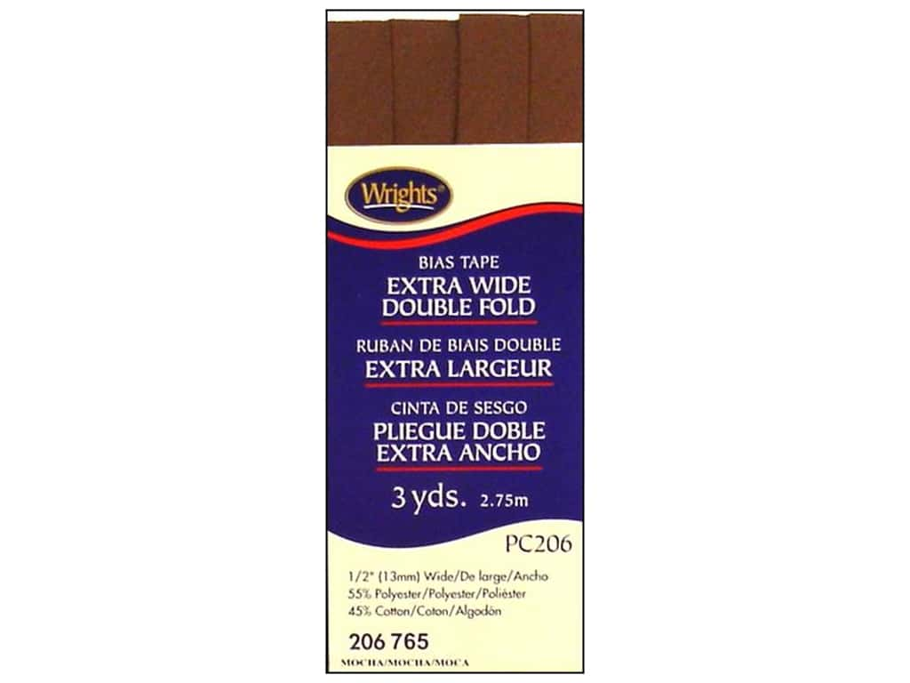 Wrights Extra Wide Double Fold Bias Tape - Mocha 3 yd.