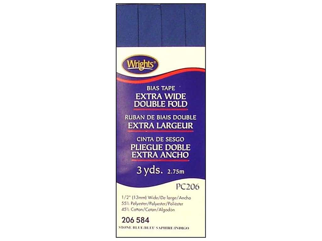 Wrights Extra Wide Double Fold Bias Tape 3 yd. Stone Blue
