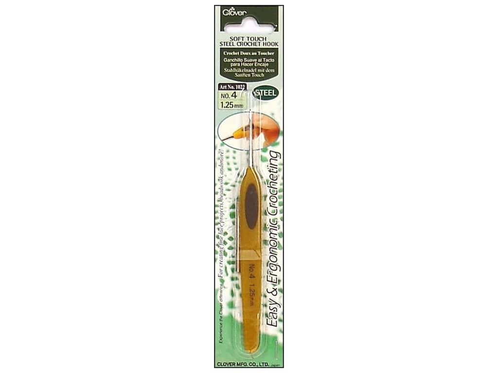 Clover Soft Touch Steel Crochet Hook Size 4 (1.25 mm)