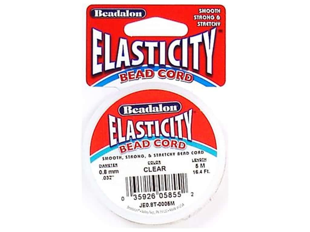 Beadalon Elasticity Bead Cord 0.8 mm (.032 in.) Clear 5 m (16.4 ft.)