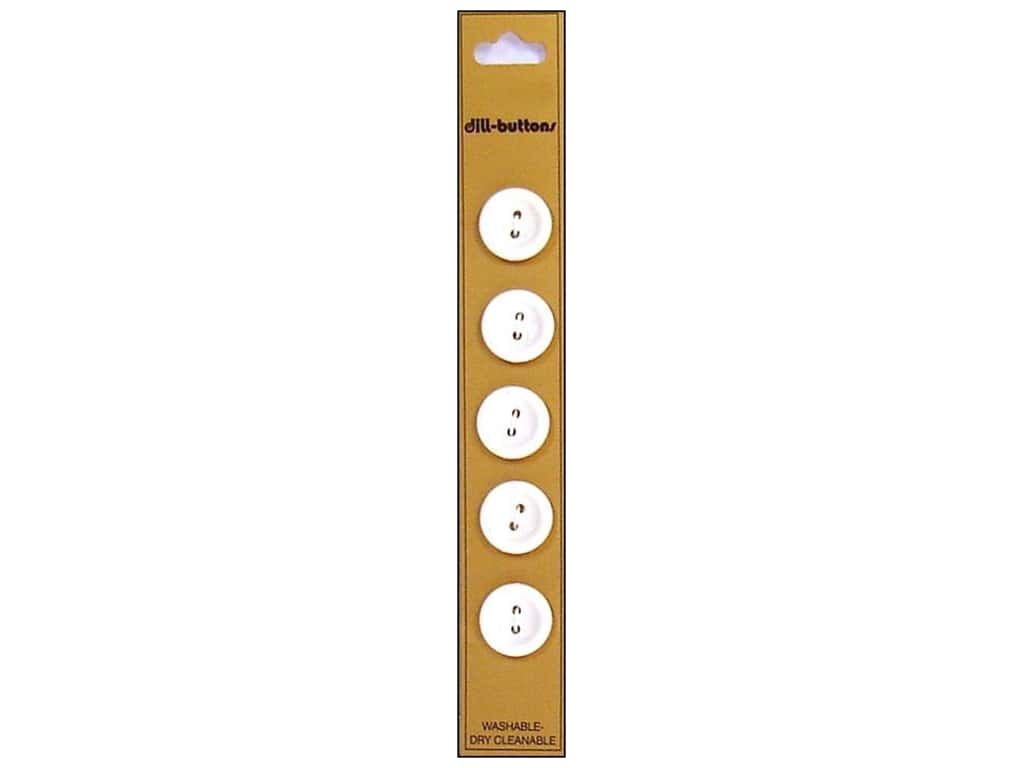 Dill 2 Hole Buttons 5/8 in. White 5 pc.