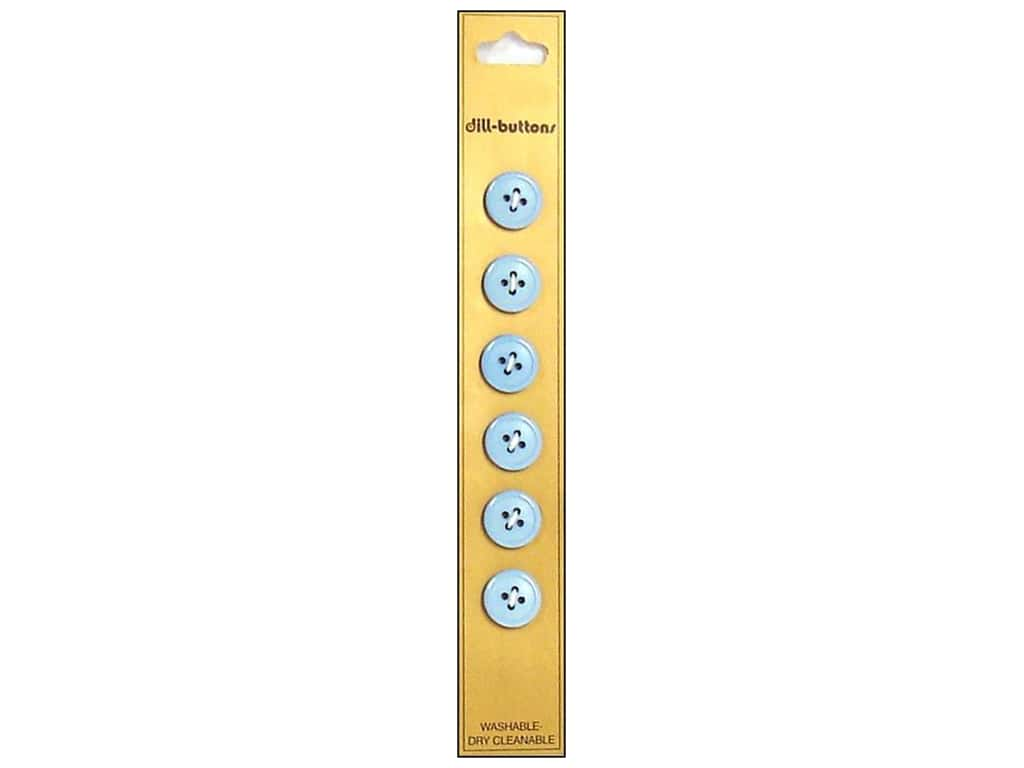 Dill 4 Hole Buttons 1/2 in. Light Blue 6 pc