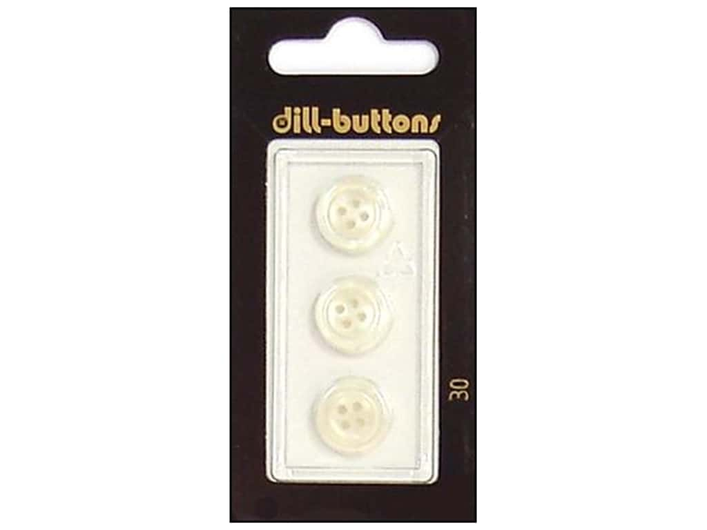 Dill 4 Hole Buttons 1/2 in. White #30 3 pc.