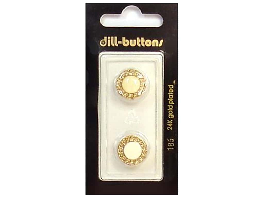 Dill Shank Buttons 9/16 in. Enamel Ivory/Gold #186 2 pc.